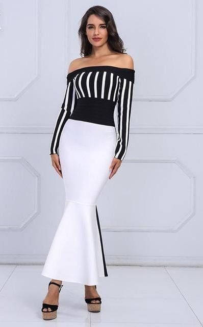 Long Sleeve Black & White Striped Long Evening Dress