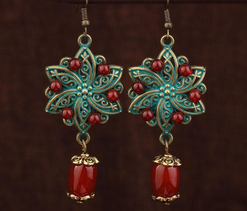 New Handmade Flowers Metal Painting Earrings