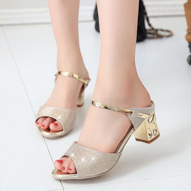 Gold Silver Party Peep Toe Sandals