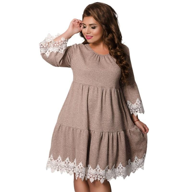 Lace Embroidery Short Party Dress Khaki