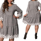 Lace Embroidery Short Party Dress Dark Gray