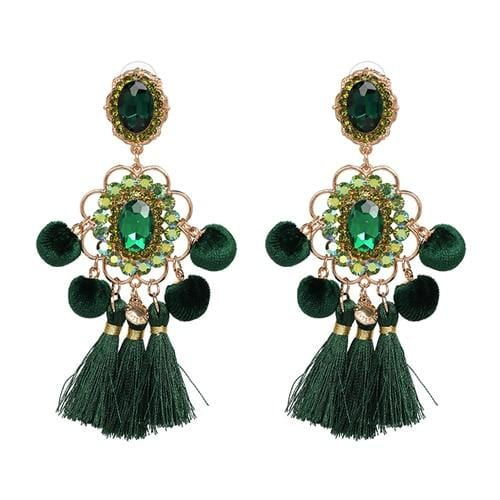 Bohemia Flower Ethnic Big Long Tassel Earrings