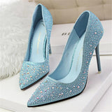 Classic Sequined Pointed Toe High Heels Blue