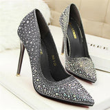 Classic Sequined Pointed Toe High Heels Gray