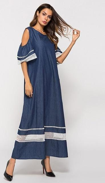 Hollow Out A line Patchwork Long Denim Dress