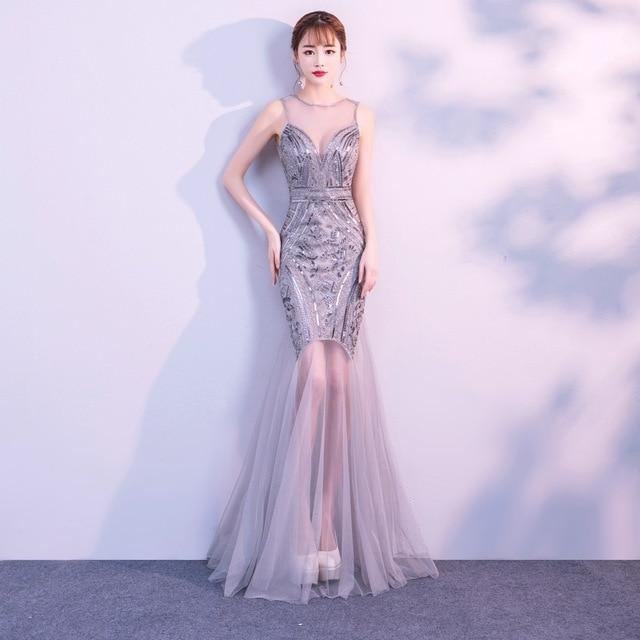 Sequins Beading Mermaid Long Party Dress Silver