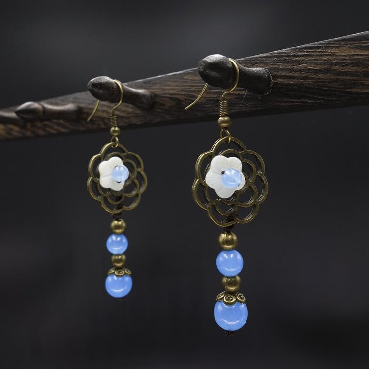 New Vintage Nature Blue Beads Ethnic Earrings