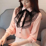Chiffon Blouse Long Sleeve Korean Lace Top Pink