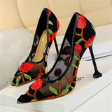Floral Embroidered Pointed Heels Red