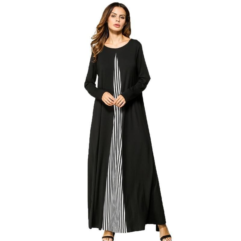 Striped Patchwork Long Maxi Dress