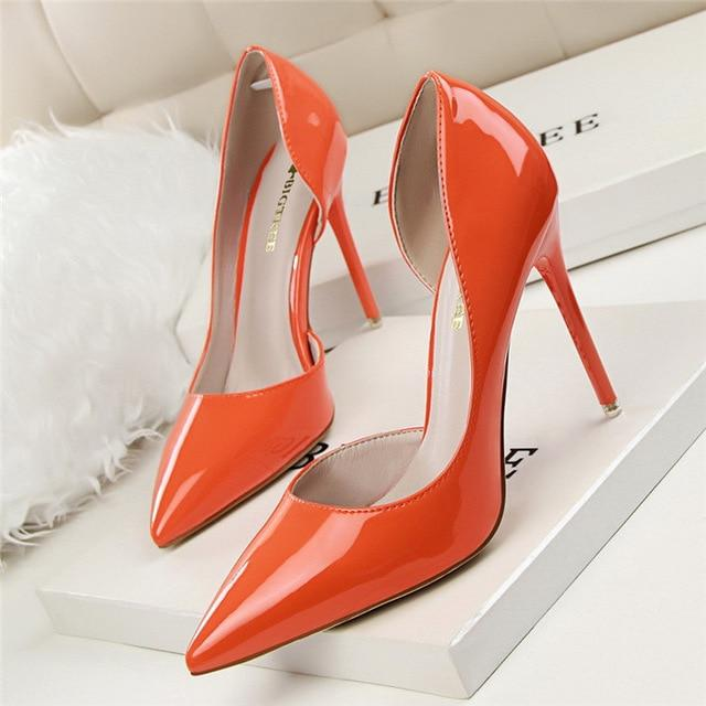 Pointed Toe High Heels Wedding Orange