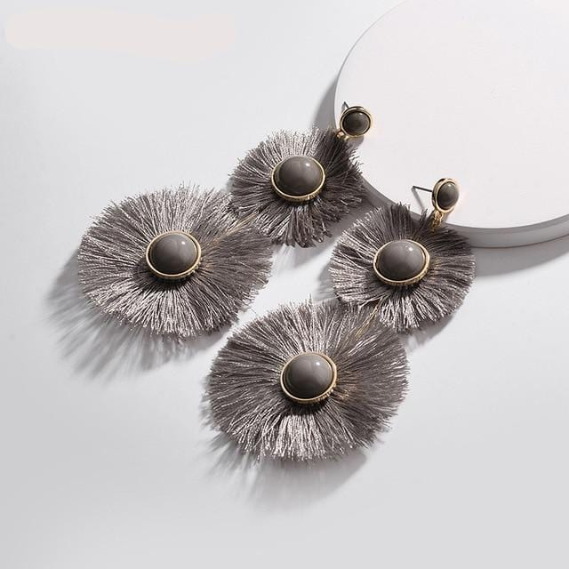 Fringed Tassel Disc Statement Earrings Dark grey