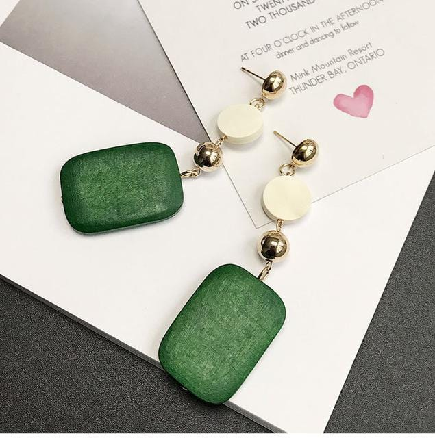 Wooden Geometric Long Earrings Green