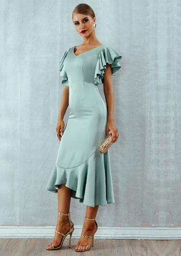 Butterfly Sleeves Ruffles Layer Mermaid Dress