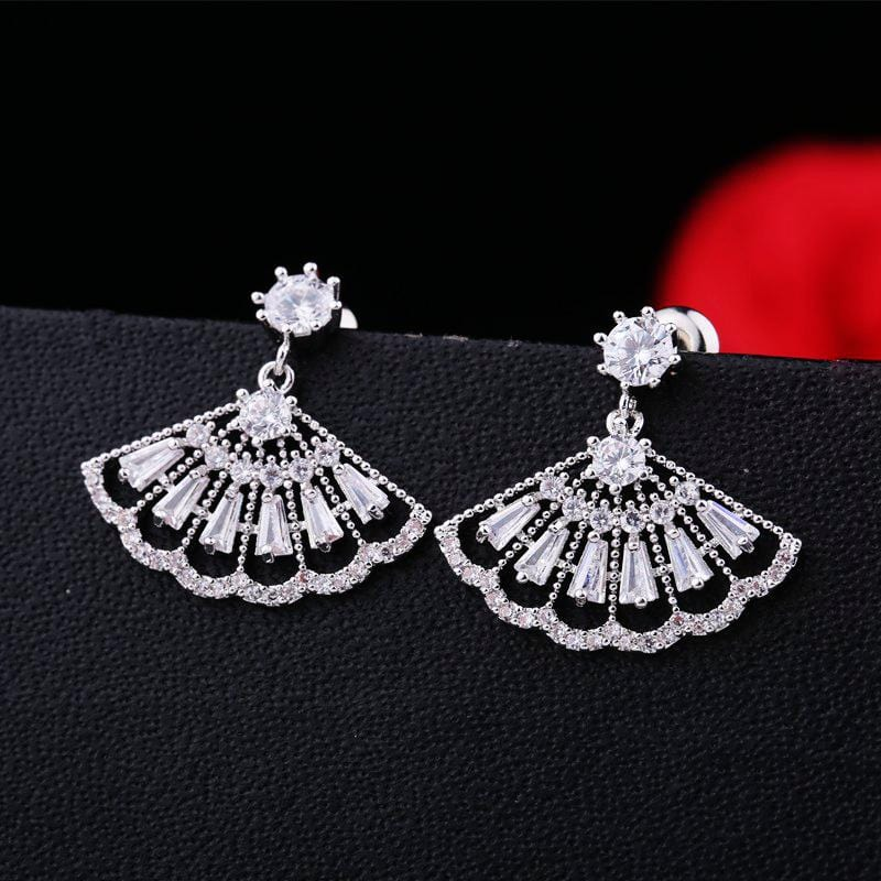 Cubic Zircon White Crystal Earrings