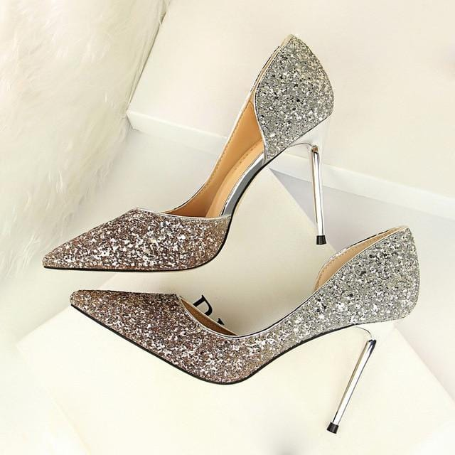 Gold Silver Glitter Pumps