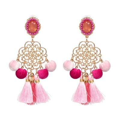 Boho Tassels Pom Pom Earrings Pink