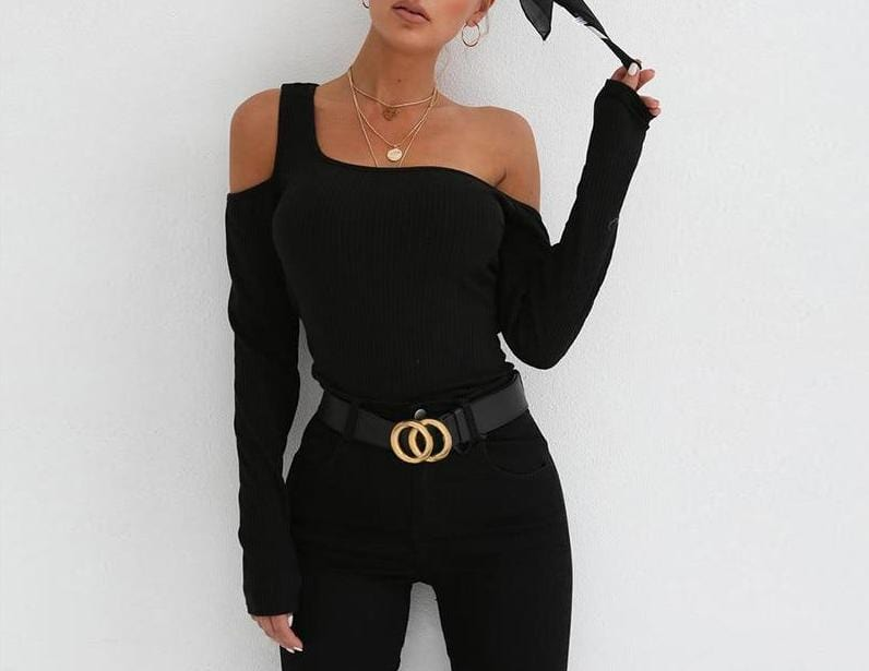 One Shoulder Unique Crop Top Black