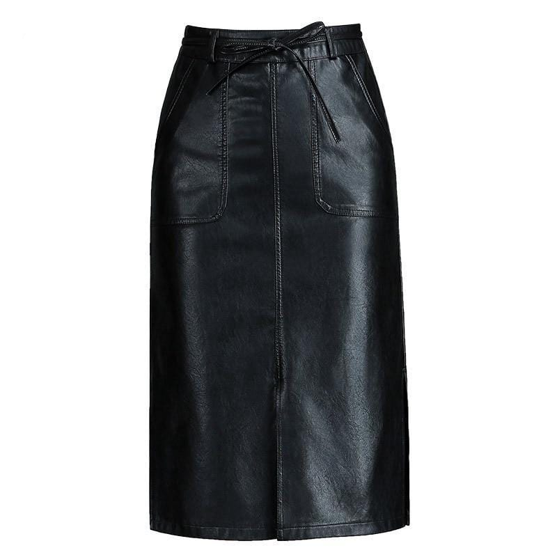 High Waist Leather Knee-Length Skirt