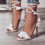 Ruffle Lace-Up Summer Sandals