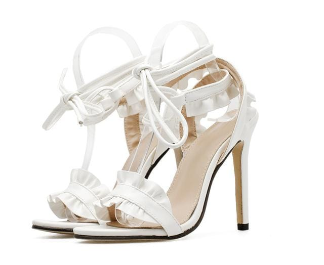 Ruffle Lace-Up Summer Sandals White