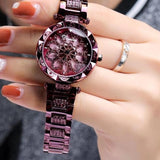 Luxury Diamond Stainless Steel Gold Women Watch Purple Heart Dial