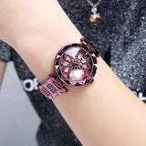 Luxury Diamond Stainless Steel Gold Women Watch Purple Flower Dial
