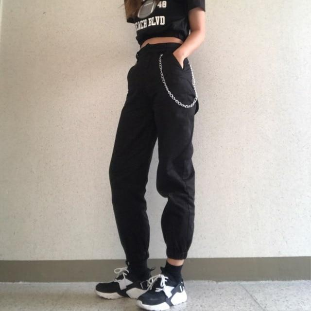 High Waist Streetwear Loose Cargo Pants Black