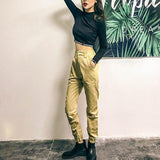 High Waist Streetwear Loose Cargo Pants Khaki