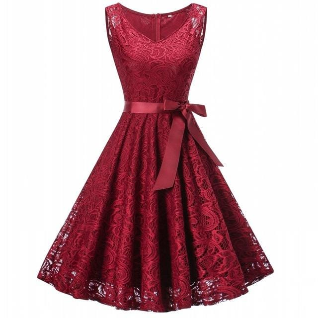 Floral Lace Pleated Elegant Dress Burgundy