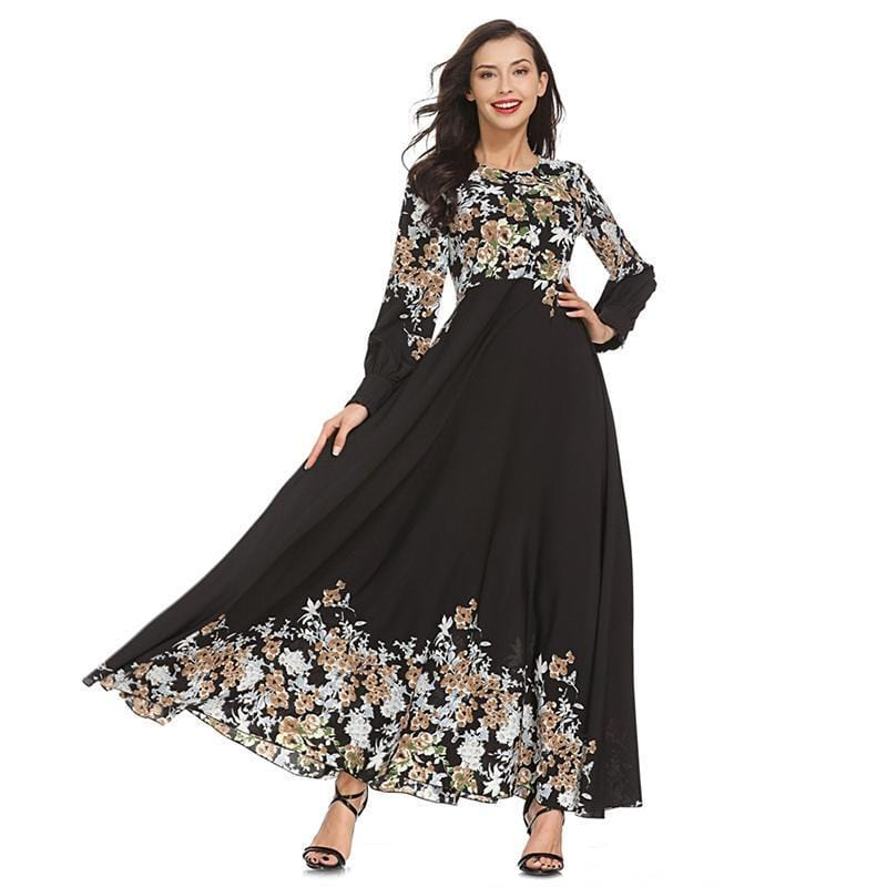 Vintage Print A-line Long Dress Black