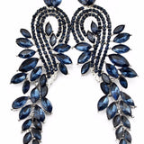 Black Leaves Rhinestone Long Earrings