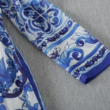Blue And White Print Chiffon Long Dress