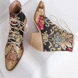 Luxury Embroidery Motorcycle Boots Multi
