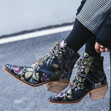 Luxury Embroidery Motorcycle Boots