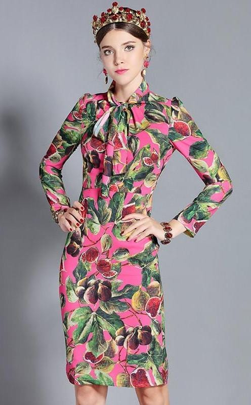 Fig Print Long Sleeve Short Dress Multi