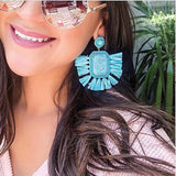 Square Tassel Drop Earring Light Blue