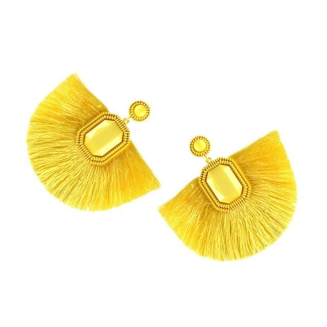 Square Tassel Drop Earring Yellow