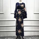 Ruffles long Sleeve Floral Maxi Dress Navy Blue