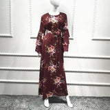 Ruffles Long Sleeve Floral Maxi Dress