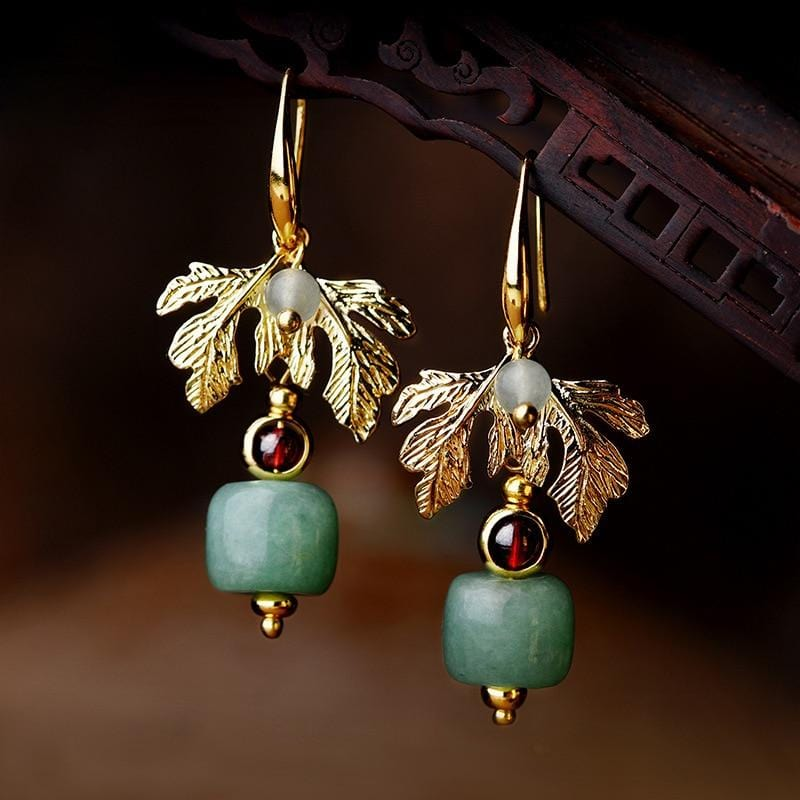 New Nature Stone Gold Leaves Vintage Earrings