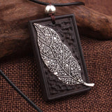 Vintage Ethnic Leaves Copper Pendant Necklace