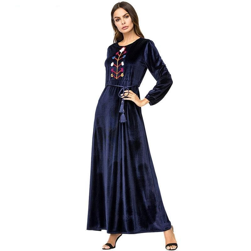 Floral Embroidery High Waist Long Dress Navy blue