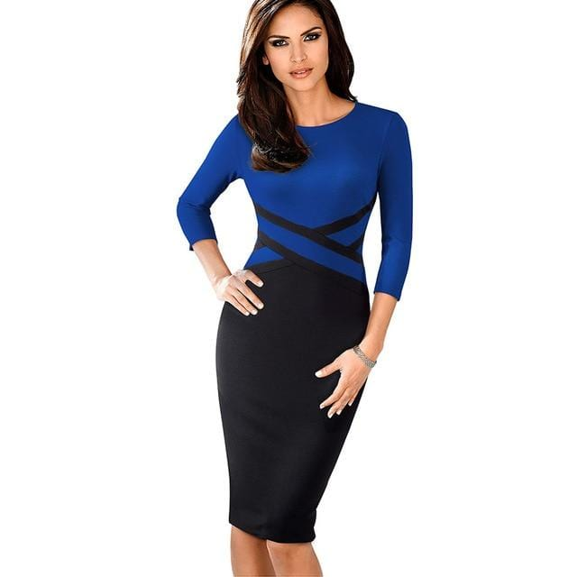 Elegant Vintage Office Wear Dress Blue