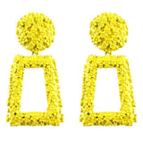 Vintage Style Big Geometric Statement Earrings Yellow