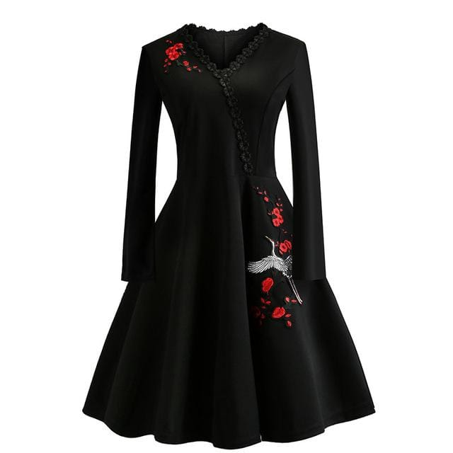Red Flower Embroidery Vintage Dress