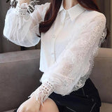 Casual Crochet Beaded Lantern Sleeve Patchwork Blouse Top White