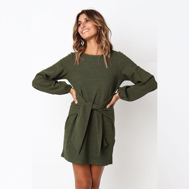 Winter Casual Long Sleeve O-Neck Short Dress