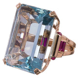 Blue Crystal Rose Gold Ring