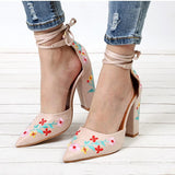 Flower Embroidery Pointed Toe Pumps